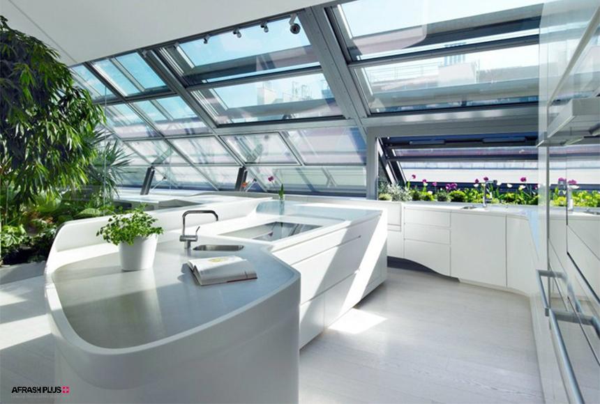 آشپزخانه مدرن با کانتر کورین سفید رنگ