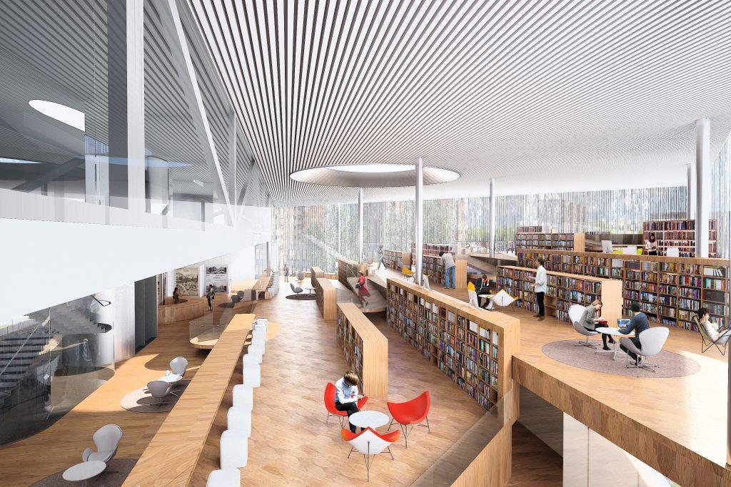 کتابخانه ی بزرگ مدرن با سقف سفیذ رنگ و کف به رنگ چوب و افرادی که در حال مطالعه هستند و مطابق با خواسته آن ها طراحی شده است.