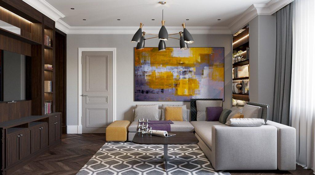 دکوراسیون منزل مدرن، با مبل های طوسی رنگ و کوسن هایی با رنگ بنفش و زرد که با تابلو پشت کاناپه هماهنگی دارد