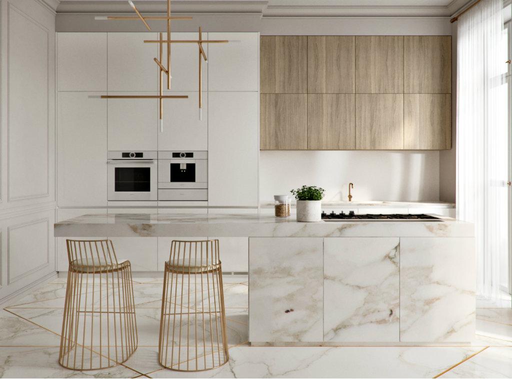 نمای آشپزخانه ای با سبک مدرن که از الگوی یکپارچه با رنگ ثابت طلایی در آن استفاده شده.