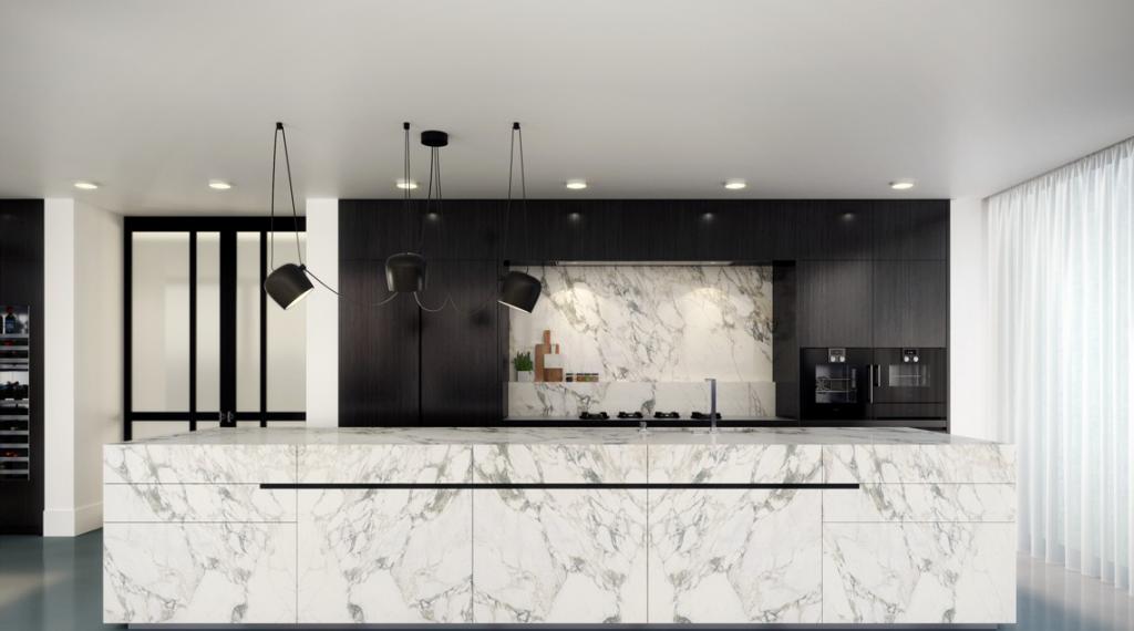 نمای آشپزخانه با صفحه کابینت طرح سنگ سفید رگه دار