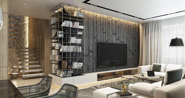 تاثیر بافت در دکوراسیون منازل مسکونی: کاغذ دیواری تیره با شلف های فلزی