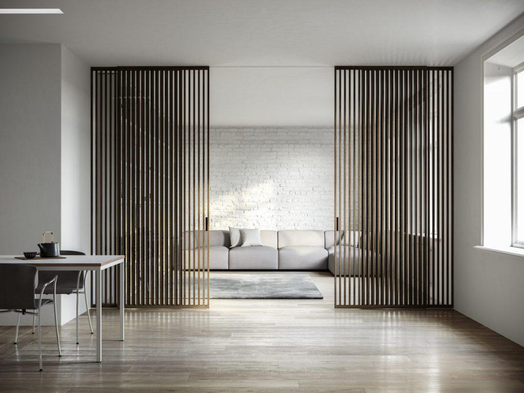 تصویری  که در آن خط  به عنوان یکی از شاخص های  اصلی طراحی داخلی با دیواری جدا کننده مشخص است.