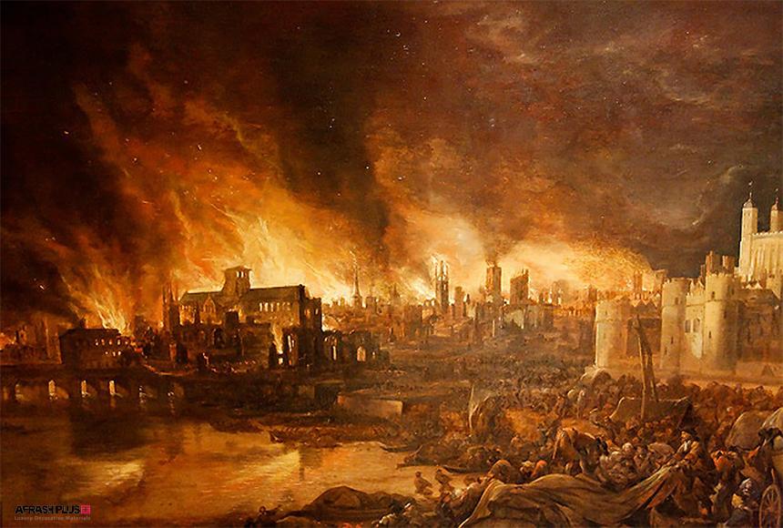 تابلو نقاشی از آتش سوزی بزرگ لندن در سال 1667 میلادی
