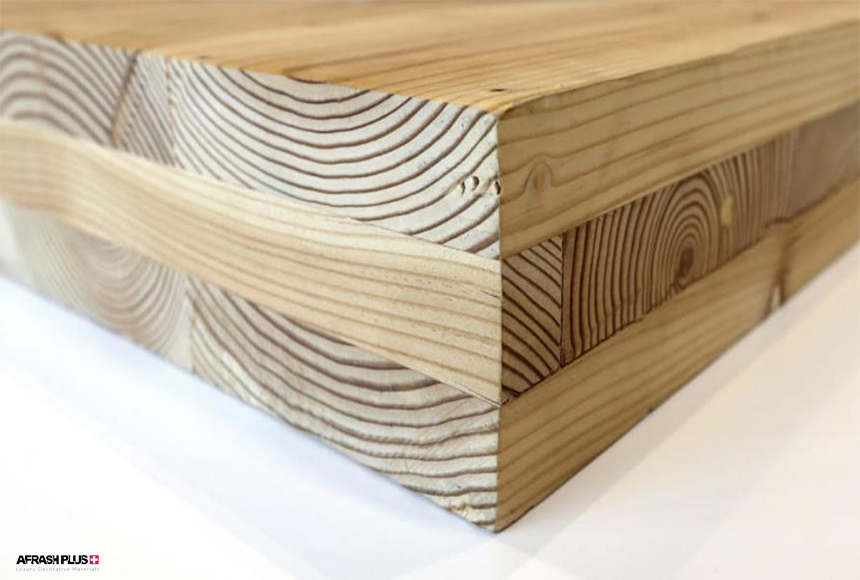 پنل چوبی CLT با 3 لایه در زمینه سفید