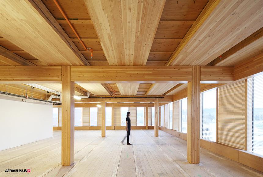 خانمی در میان سازه تمام چوبی