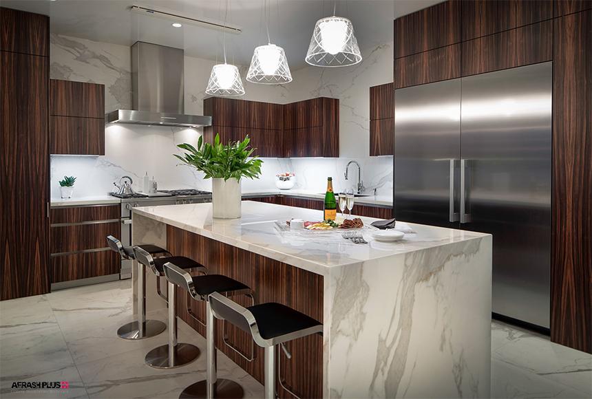 کابینت آشپزخانه با چوب آبنوس و صفحه مارمونایتو کف سرامیکی