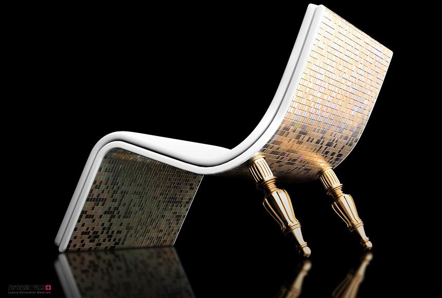 صندلی انتزاعی ساخته شده با تکنولوژی پرینت سه بعدی در زمینه مشکی
