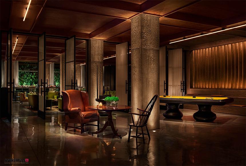 دکوراسیون هتل و لابی بسیار چشم نواز با نمای سنگی