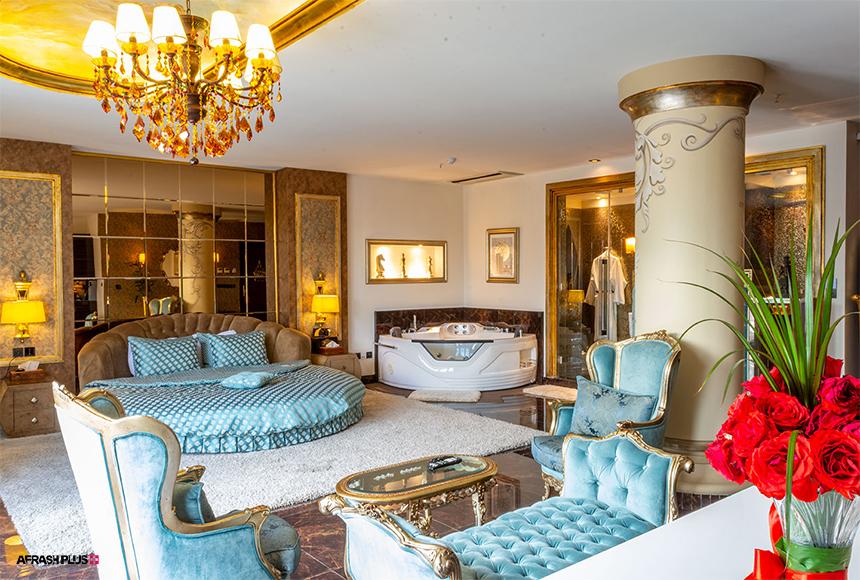 اتاق مجلل و ترکیب رنگی در دکوراسیون هتل