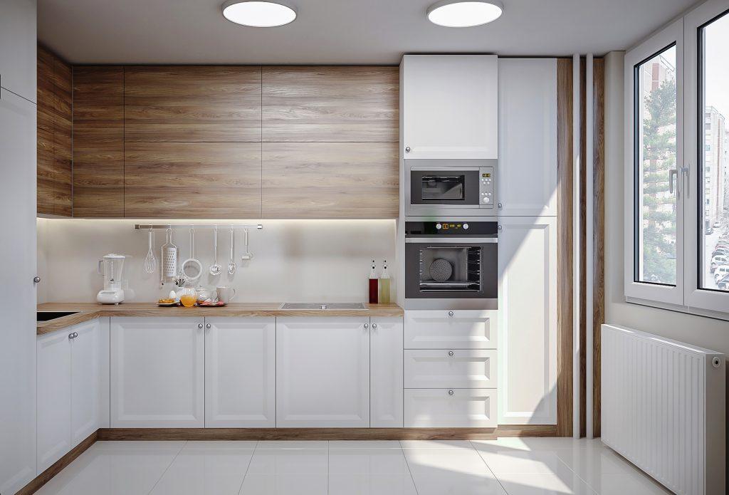 اشپرخانه ای با ترکیب کابینت های سفید و قهوه ای