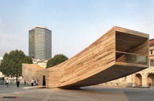 بنای انتزاعی ساخته شده با پنل چوب طبیعی