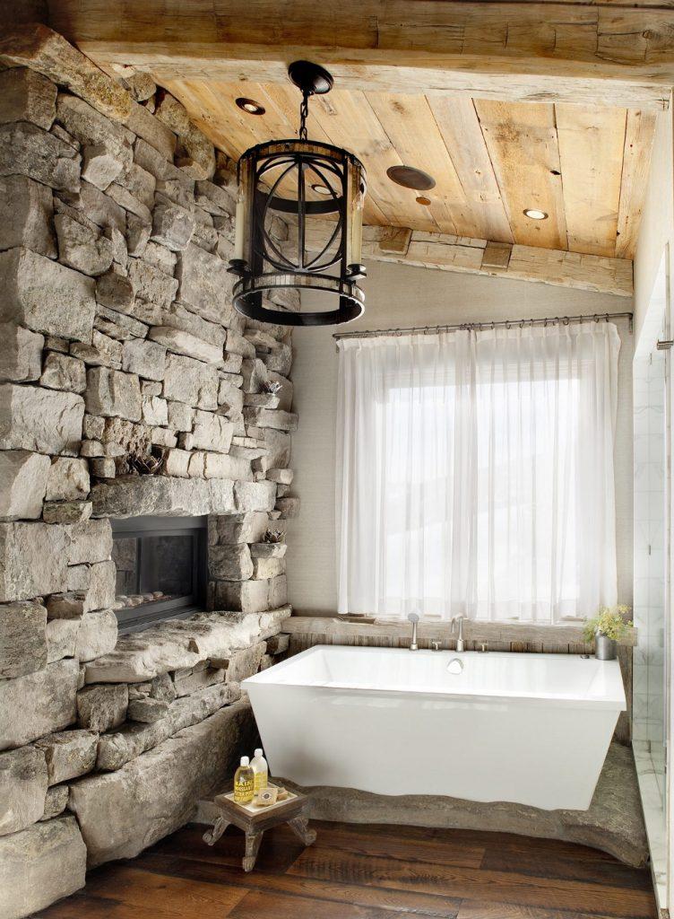 حمام با دیوار سنگی به طرح روستیک