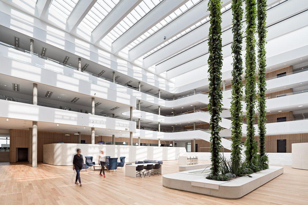 آتریوم زیبا و دلنشین در میان یک مرکز تجاری که در آن گیاهان تا سقف کشیده شده اند.