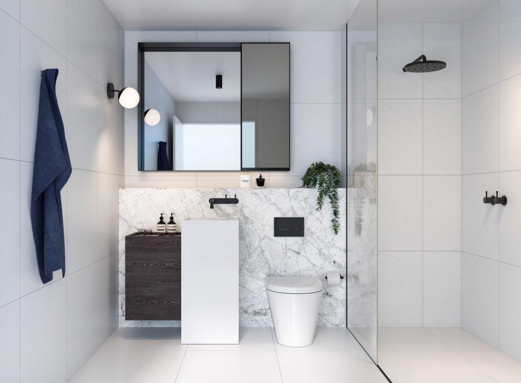 سرویس بهداشتی که دیوارپوش و کف پوش و سقف یک رنگ دارد که باعث بزرگ تر دیده شدن فضا می شود.