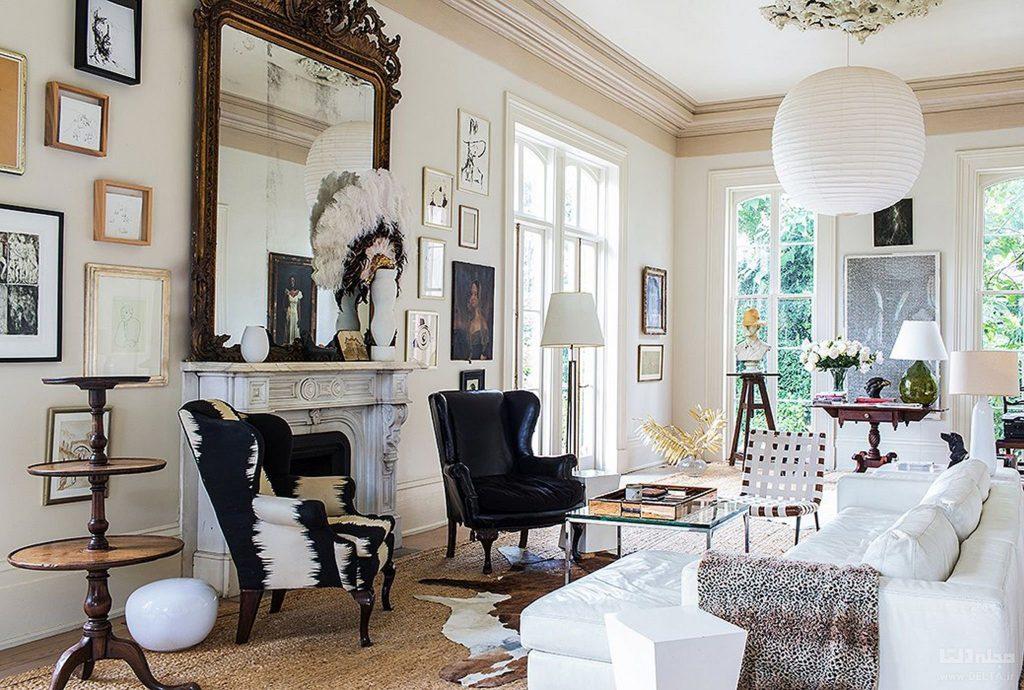 طراحی هیجان انگیز خانه ی کلاسیک با استفاده از مبلمان و شومینه سبک کلاسیک