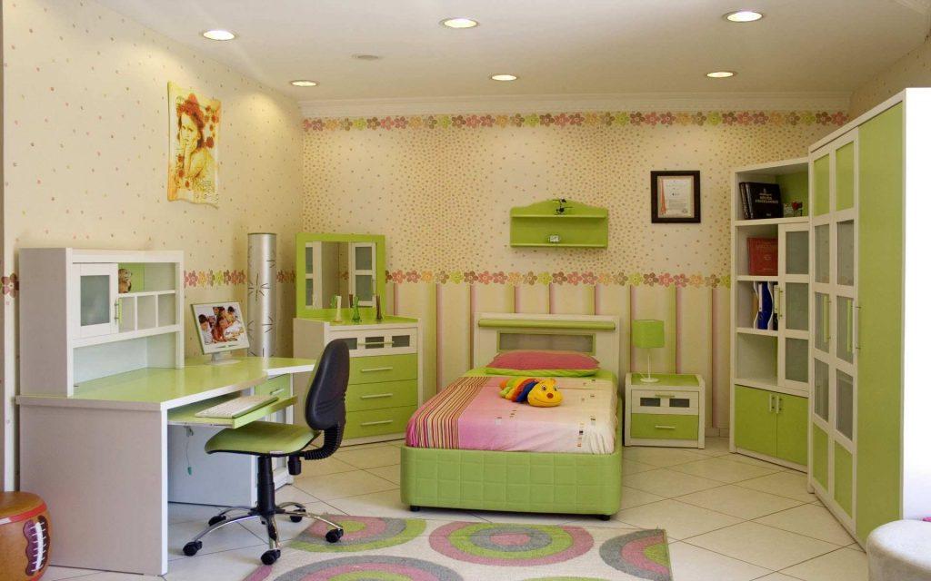 طراحی هیجان انگیز اتاق بچه با استفاده از متریال های نوین و رنگ سبز و سفید