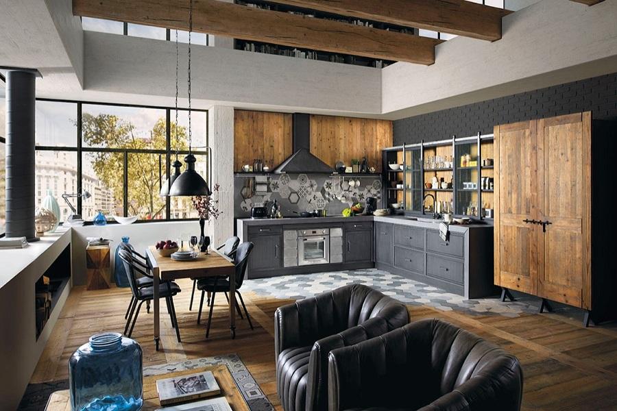 آشپزخانه با دکور صنعتی